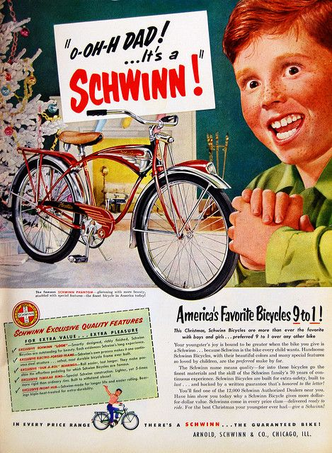 Vintage Advertisement  Schwinn Bikes, 1950s
