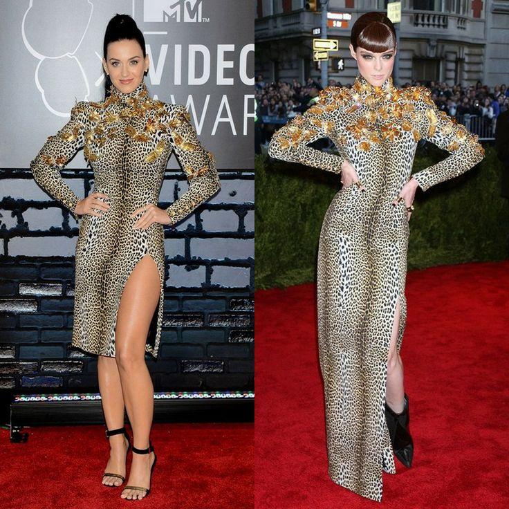 Katy Perry in the short or Coco Rocha in the long version of Emanuel Ungaro's dress.