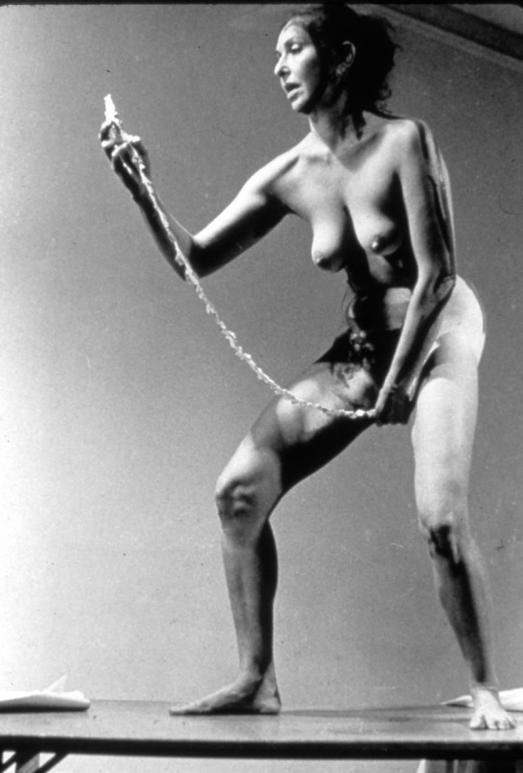 "Forty Years of Carolee Schneemann's ""Interior Scroll"" 1975  Pulled out a paper stroll and started to read from it. Her opinions about the vagina"