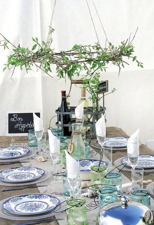 Sea Glass Colors and Suspended Wreath..Rustic + Shabby + Beachy + Vintage Table Setting