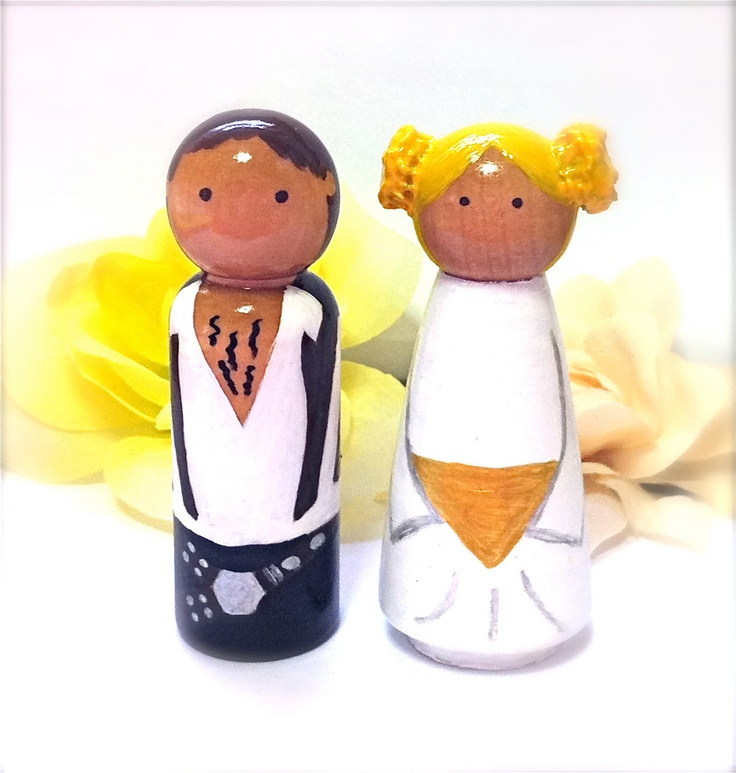 Star Wars Wedding Cake Toppers Blond Princess Leia and Hans Solo Large Wood Peg Dolls Bride Groom Husband Wife Keepsake Collectable Geekery. $65.00, via Etsy.