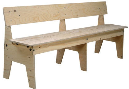 Bench Crisis in plywood / Bänk Crisis i plywood, 240 cm bred, Piet Hein Eek.