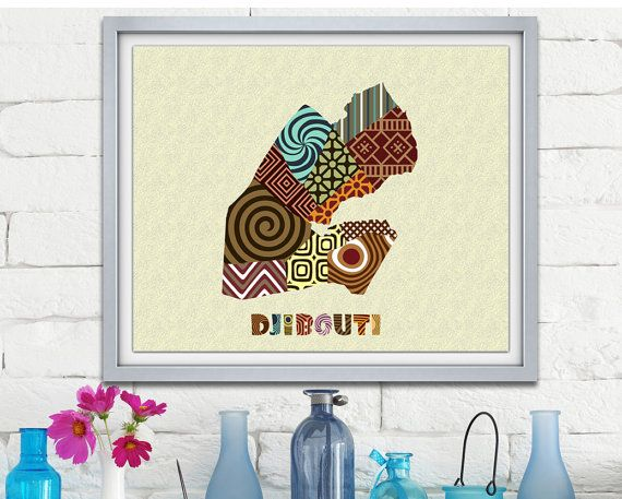 Djibouti Map Art Print Wall Decor, Djibouti Poster African Art Print, Djibouti city Africa, African Map Poster AVAILABLE @ $15