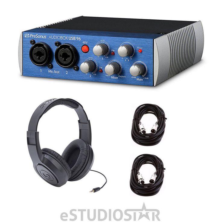 PreSonus Audiobox USB w/ headphones and XLR Cables