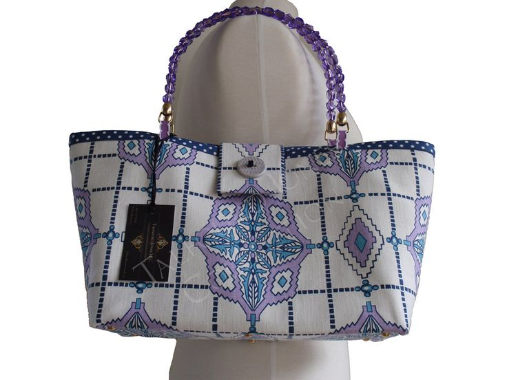 Purple, Blue, White Diamond Fabric Purse - Contemporary Windowpane - Small Womens Purse - Small Knitting Tote - Handmade Fabric Handbag by TalfourdJones on Etsy