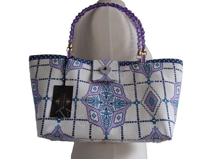 Purple, Blue, White Diamond Fabric Purse - Contemporary Windowpane - Small Womens Purse - Small Knitting Tote - Handmade Fabric Handbag by TalfourdJones on Etsy
