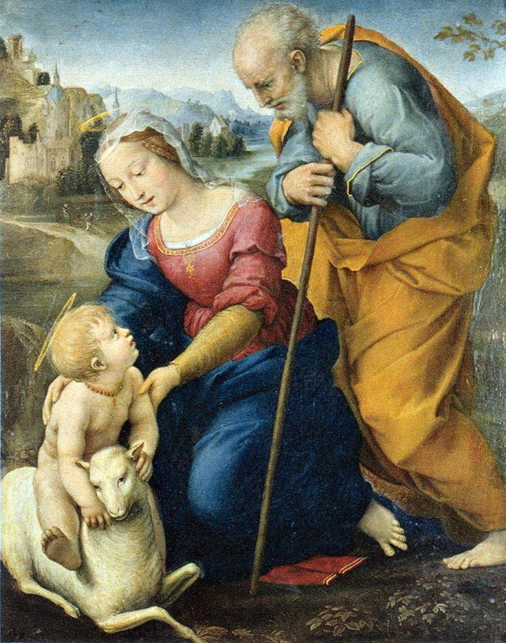 Raphael–Raffaello Sanzio da Urbino (Italian 1483–1520) [High Renaissance] Holy Family with the Lamb, 1504. Museo del Prado, Madrid.