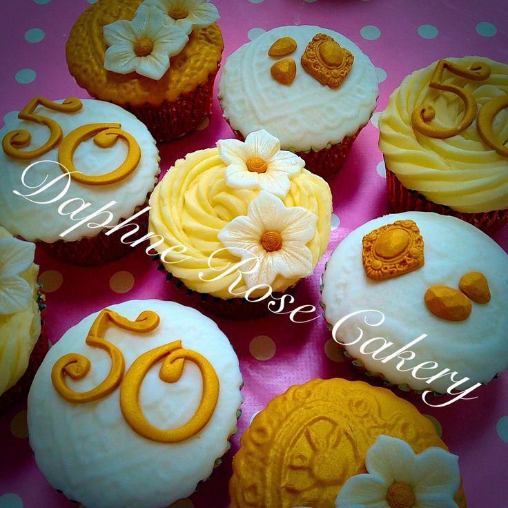 #anniversary #cupcakes #50thanniversary #gold #white #wedding #jewels