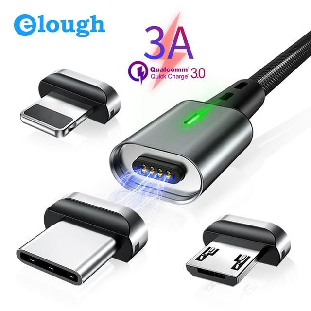 Elough 3a Magnetic Micro Usb Cable For Iphone Samsung Xiaomi Type C Cable Qc 3 0 Fast Charge Phone Magnet Charger Usb Wire Magnetic Charger Micro Usb Cable Usb