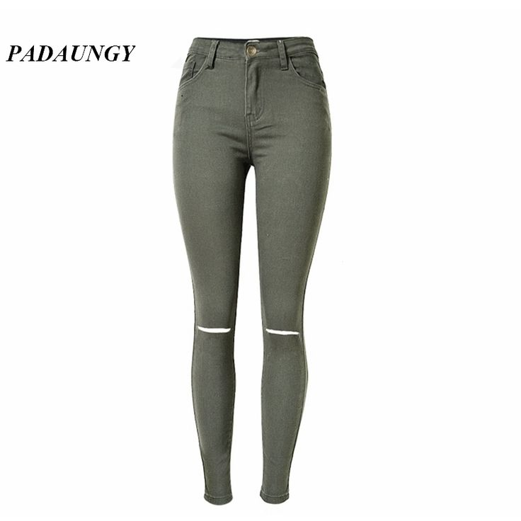 21.37$  Buy here - http://ali0pw.shopchina.info/go.php?t=32698306539 - PADAUNGY High Waist Torn Jeans Ripped Jeggings Ankle Holes Army Green Pencil Trousers Jardineira Feminina Slim Fit Jean Taille 21.37$ #aliexpressideas