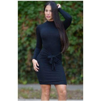 Robe col montant Noire avec ceinture intégrée - bestyle29.com