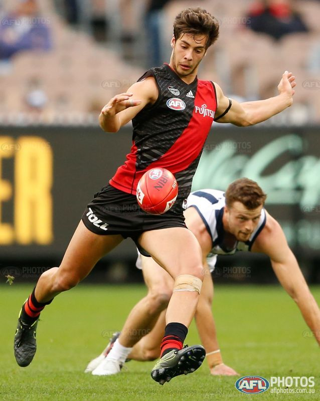 Kyle Langford of the Bombers in action during the 2016 AFL Round 04 match between the Essendon Bombers and the Geelong Cats at the Melbourne Cricket Ground, Melbourne on April 16, 2016.