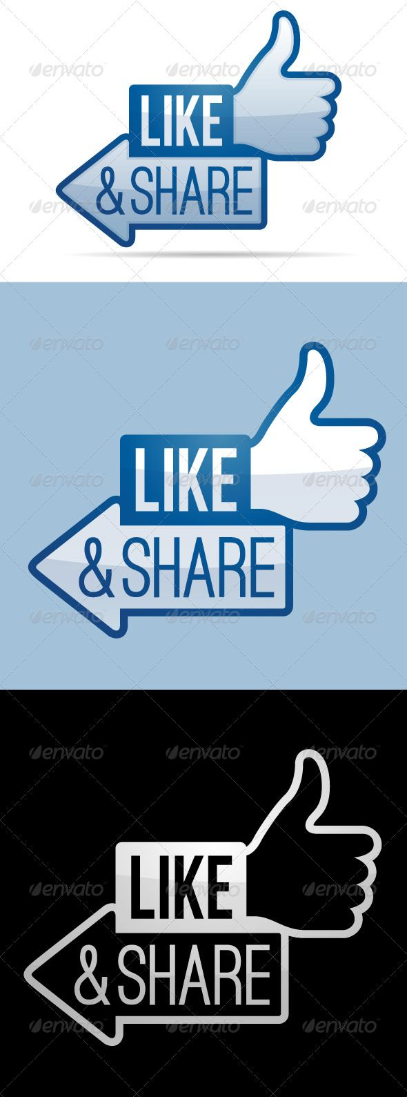Like and Share Thumbs Up by filolif Like and share thumbs up symbol.