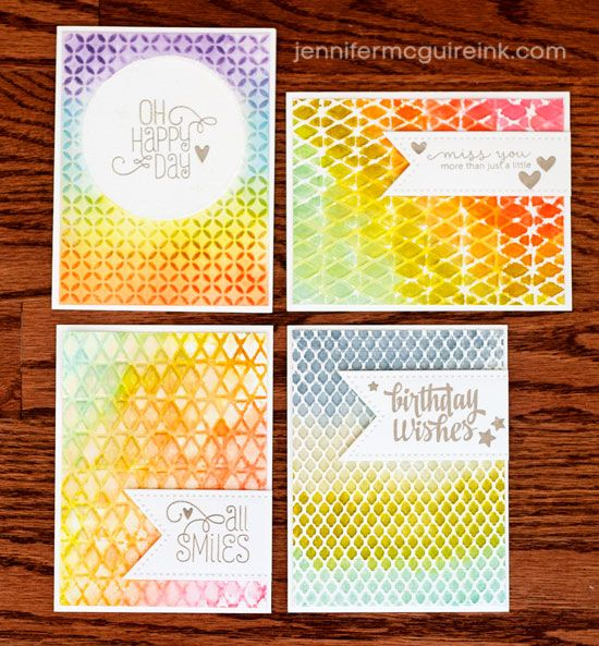 Watercolor + Embossing Folders Video by Jennifer McGuire Ink INK ONE SIDE EMBOSSING FOLDER, WET WATERCOLOR PAPER AND PRESS INTO IT. MIX PERFECT PEARLS WITH WATER IN A SPRAY BOTTLE