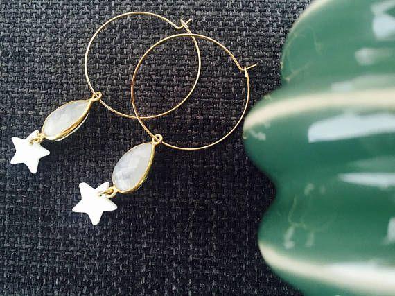 créoles agate blanche étoile nacre anneau goldfilled