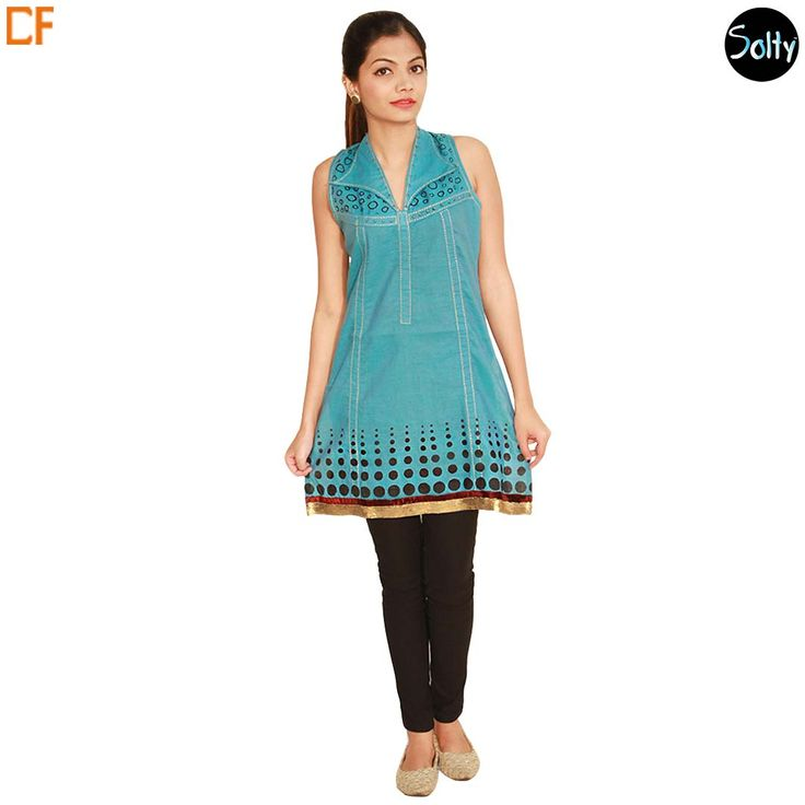 Blue printed short kurti in linen material. Some of the positives of using linen- clothing are that it adds to charm and trendiness to any attire. Being a stylish fabric, you can buy nicely printed pattern clothing and look extremely fashionable. The short kurti has shirt collar. without sleeves, Prints on the overlay and along the hemline, with gold and red taping on the hem. http://www.droomfashion.com/shop/brands-kurtis/blue-printed-linen-kurti/