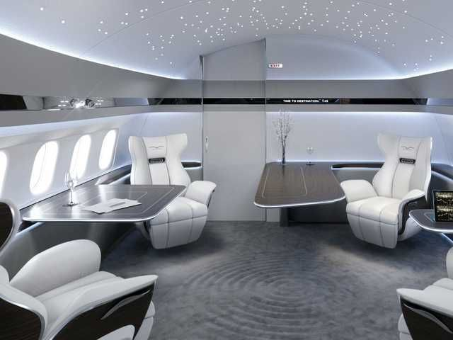 This Boeing 737 Max Private Jet Interior Design Looks More Like A Futuristic Spaceship Than It Does A Private Jet Luxury Jets Aircraft Interiors Private Jet Interior