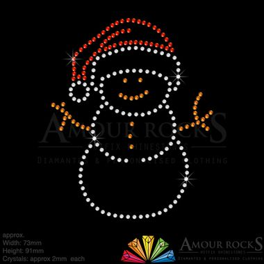 apply this crystal snowman to clothing or cards for christmas decoration