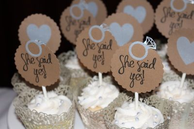 """Surprise engagement party! """"She said yes!"""" Candy and dessert buffet"""