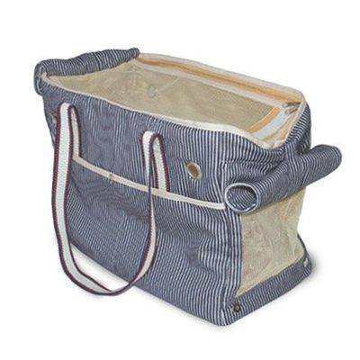 Shop the Designer Dog Carrier your pup will love! The Nautical Tote has softly padded walls and mesh windows for the dog's comfort.