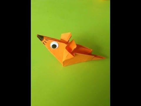 Muisje vouwen (origami). Leuk om te knutselen met kinderen.