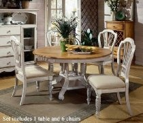 7pc Round Dining Table and Chairs Set in Antique White Finish