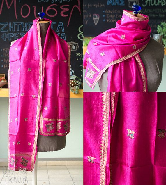 Vintage Indian Fuchsia Scarf  Silk emroidered by UberdenTraum