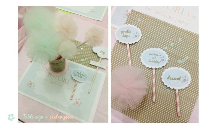 The stationery for the event: table runner, flower fabric center piece, and food tags by Eve & Artistry.