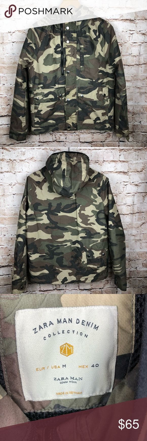 """ZARA man multi pocket army camo jacket Size M In good condition  Size M  pit to pit 21""""  top to bottom 26""""  Comes from pet and smoke free home Zara Jackets & Coats Military & Field"""