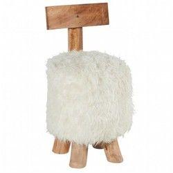 Pouf Tabouret avec dossier en bois de Suar naturel et assise en fourrure synthétique blanche D37xH71cm CANADA PIER IMPORT