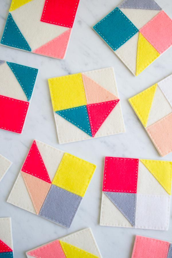 Molly's Sketchbook: Modular FeltCoasters - Purl Soho - Knitting Crochet Sewing Embroidery Crafts Patterns and Ideas!