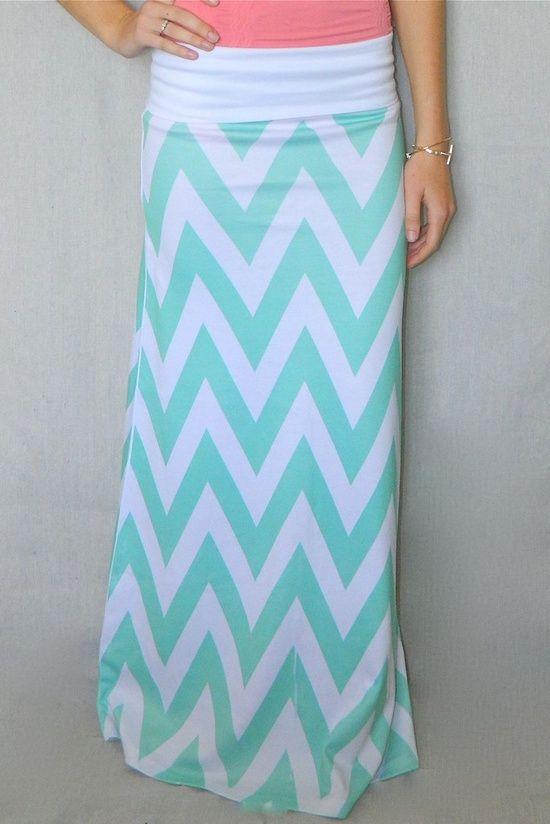 Mint Chevron Maxi Skirt...love this!