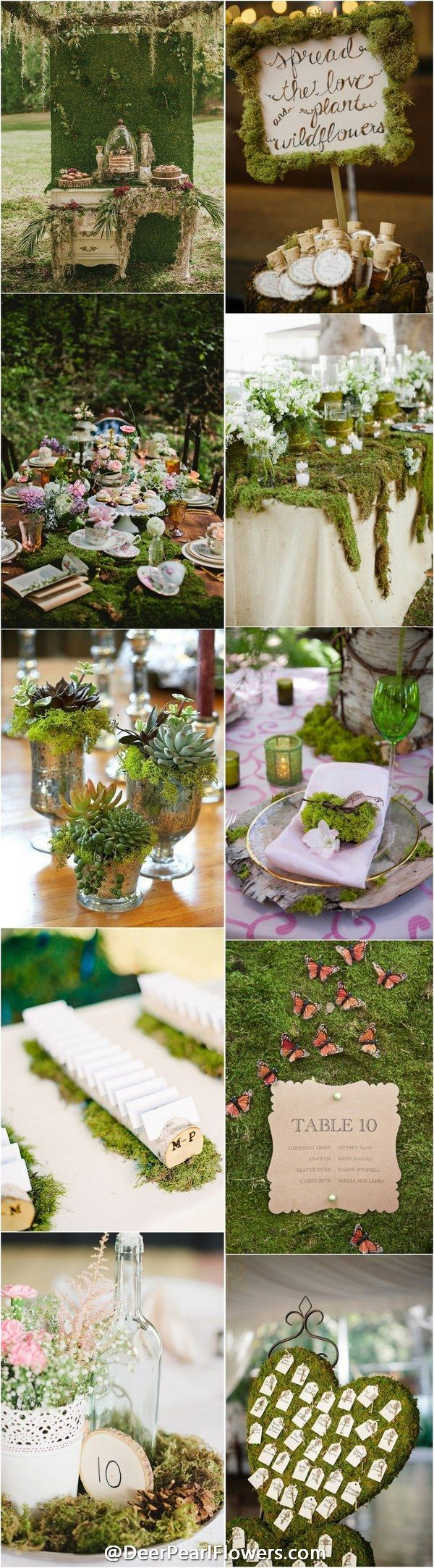 Woodland moss wedding decor ideas / http://www.deerpearlflowers.com/moss-decor-ideas-for-a-nature-wedding/