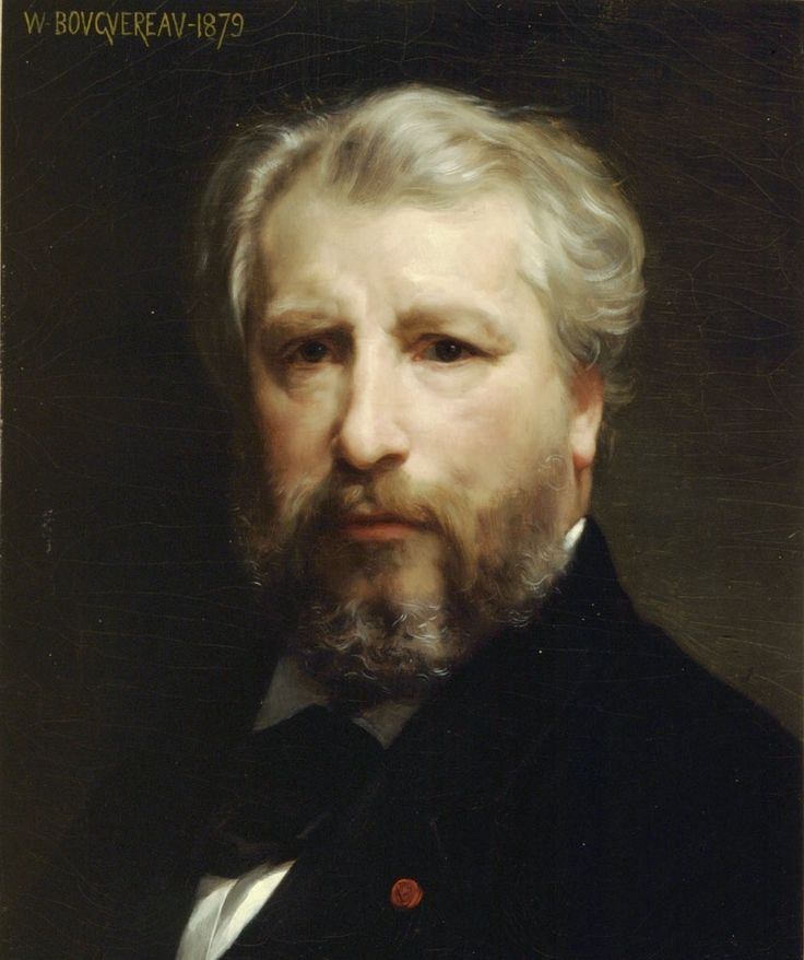 Artist William-Adolphe Bouguereau (1825-1905) self-portrait. Bouguereau was a popular French academic painter who excelled in painting realistic human figures. In his own time, he was considered to be one of the greatest painters in the world by the Academic art community, and simultaneously he was reviled by the avant-garde. He gained wide international fame and commanded high prices. To many, he epitomized taste and refinement, and a respect for tradition.