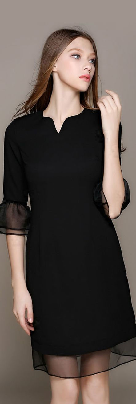 Black V Neck Ruffled Sleeves Dress