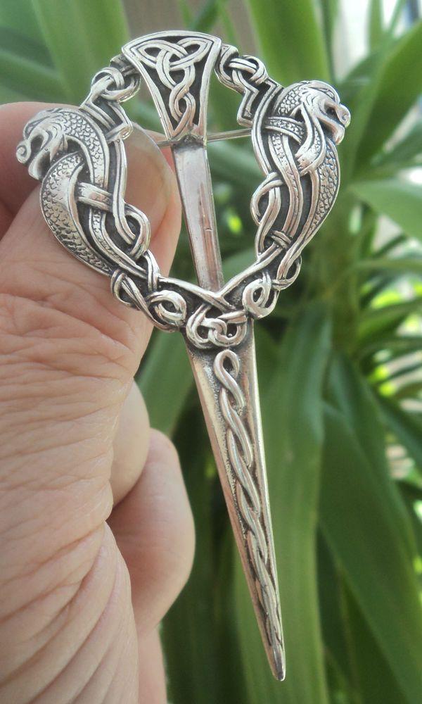 LARGE Iona Scottish Silver Zoomorphic Brooch Kilt Pin 1960 John Hart Bannockburn