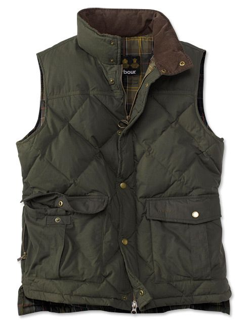 """Repel the elements and stay warm in the cold rain with this classic Barbour lightweight 4-oz. waxed cotton vest in an antique finish. This men's down insulated vest is excellent for layering or stand-alone wear. Fully lined and filled with down insulation for superior warmth. 4"""" box pockets and lower bellows pockets with side zip entry. Waxed cotton. Pure cotton lining. In black. Duck down. Cold sponge. Imported. <br />Sizes: M(38-40), L(42-44), XL(46-48), XXL(50-52). Contemporary Fit. See…"""