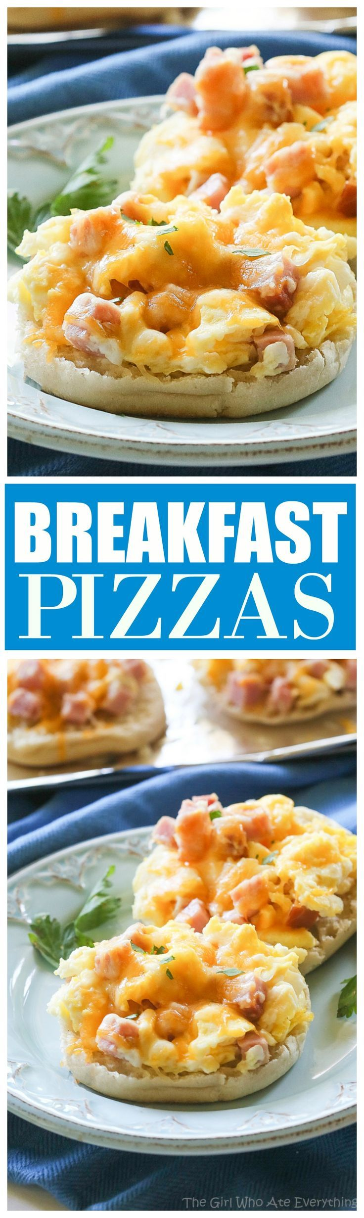 Breakfast Pizzas - scrambled eggs piled on English muffins and even freezer friendly. http://the-girl-who-ate-everything.com