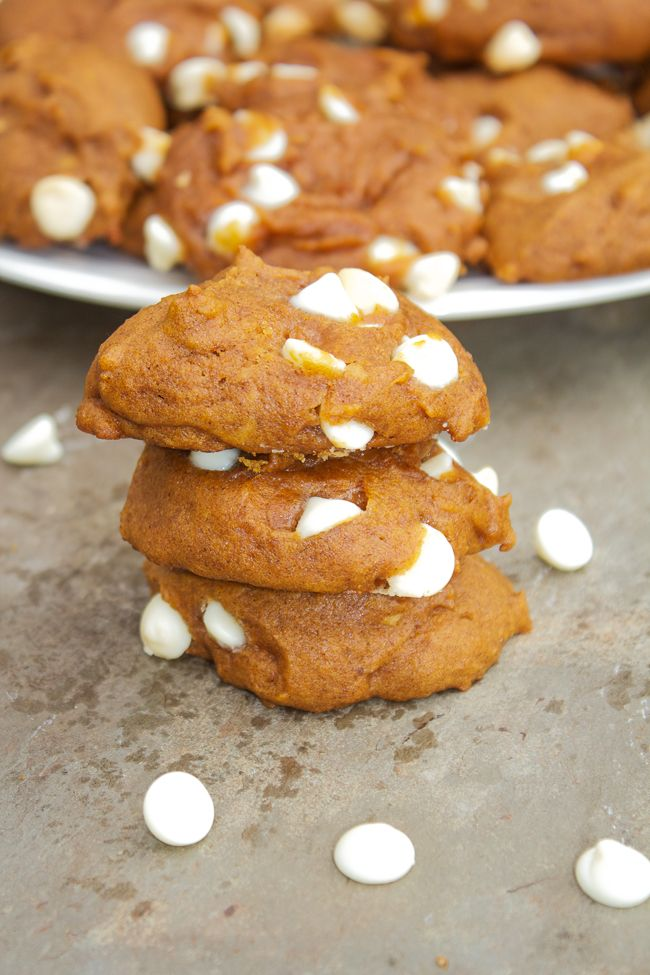 Pumpkin Pie Cookies, they are moist and loaded with white chocolate chips .