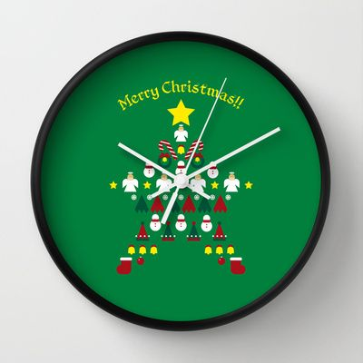 FLAT CHRISTMAS series -CHRISTMAS STAR_G Wall Clock by SEOL.D - $30.00