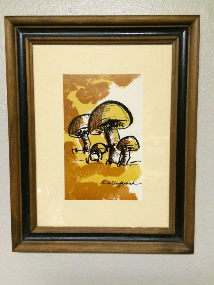 Mid Century Modern Framed Art Print of Retro Mushrooms Signed by OffCenterModern on Etsy