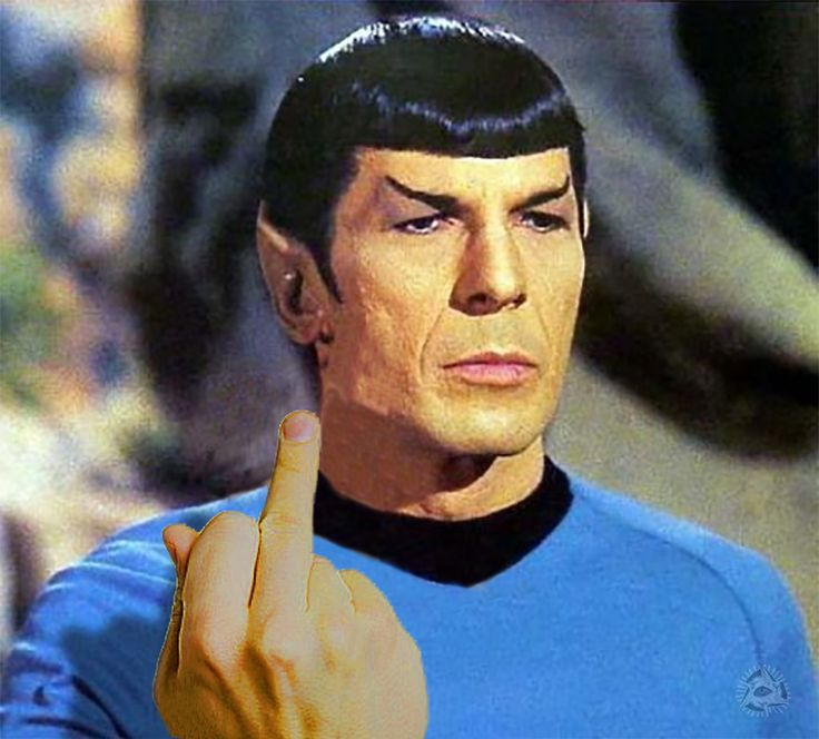 Spock shows the middle finger