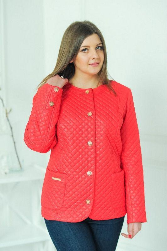 """Яркая куртка стежка """"Ким (коралл) - цена 630 грн. Купить куртки женские в Украине."""