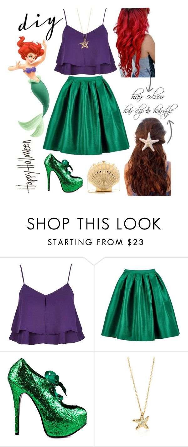 """DIY Ariel Halloween Costume"" by avonsblessing94 ❤ liked on Polyvore featuring мода, River Island, Viva Bordello, Elsa Peretti, Charlotte Olympia, Disney, women's clothing, women's fashion, women и female"