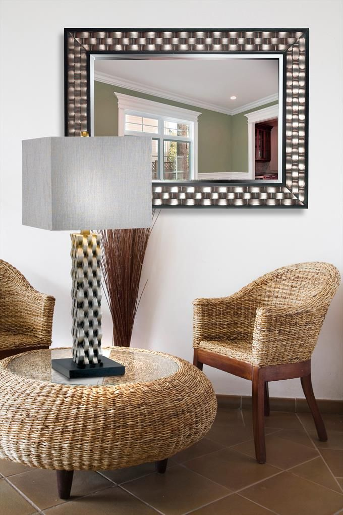 Checker Wall Mirror In Brushed Silver With Black Accent