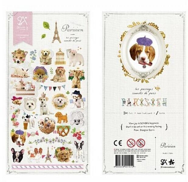 Урожай париж собака серии бумажные наклейки / DIY стикер / украшения придерживайтесь / школы офисная техника № 0223