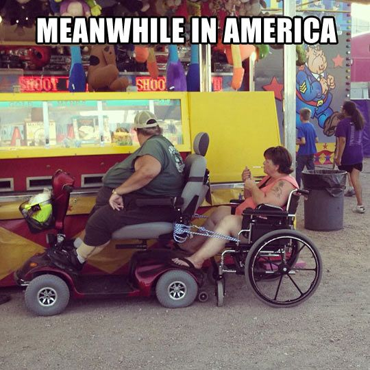 """""""Meanwhile In America"""" :: Note the cigarette being lit and the obvious consequences of poor lifestyle choices. Ugh.... No wonder much of the globe wonders what the hell is wrong with us. Sadly, I wonder, too."""