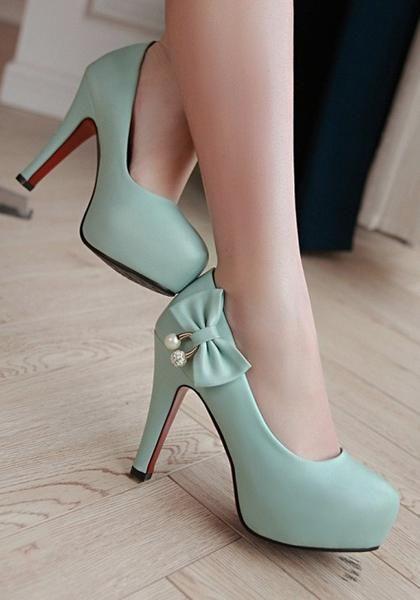 Blue Round Toe Stiletto Bow Fashion High-Heeled Shoes