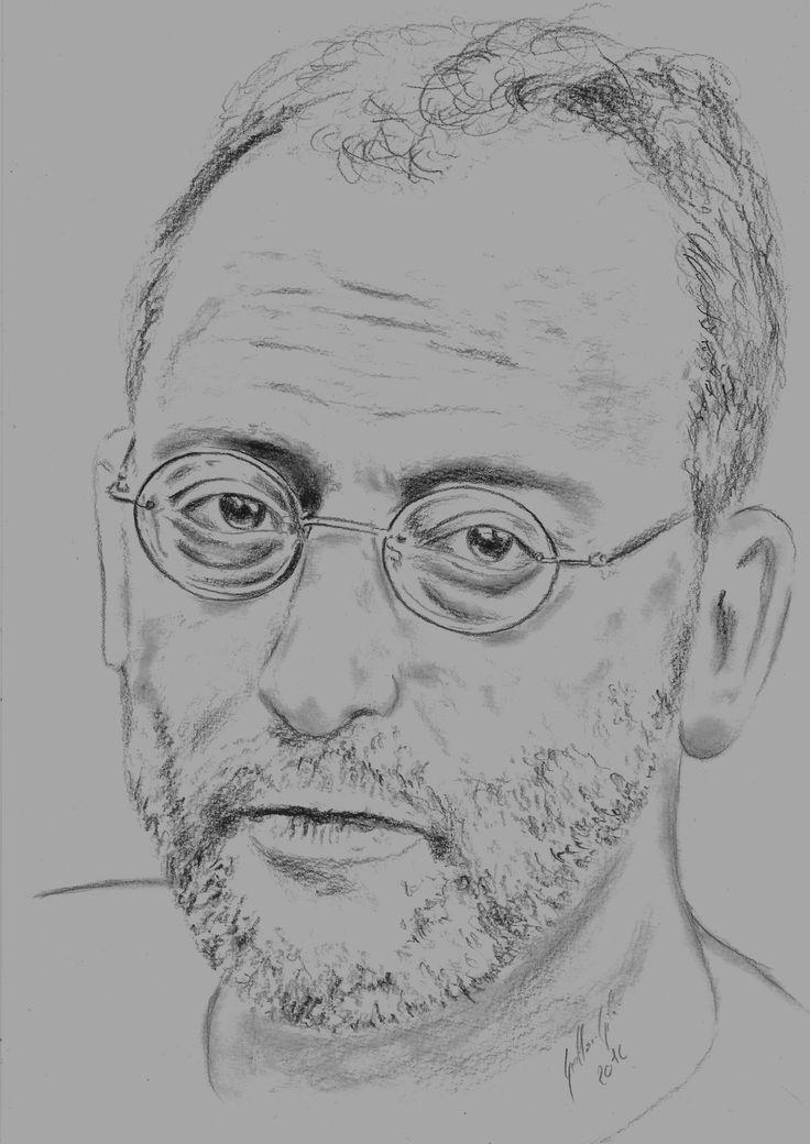 Jean Reno. Portrait au fusain