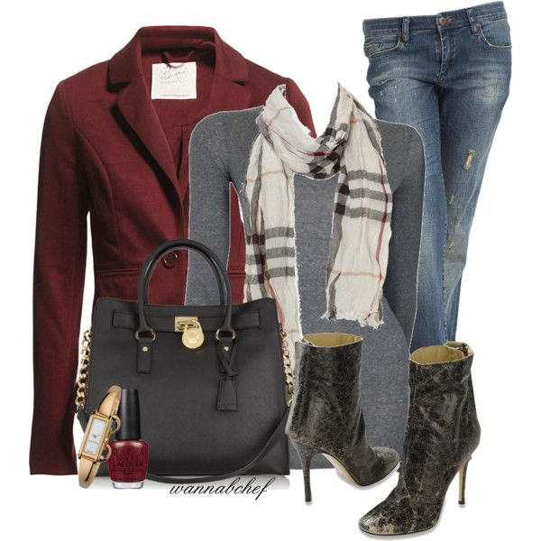Burberry Scarf and Vintage-Style Boots by wannabchef on Polyvore featuring American Vintage, BlendShe, BLANK, Diesel Black Gold, MICHAEL Michael Kors, Gucci, Burberry, OPI and vintage